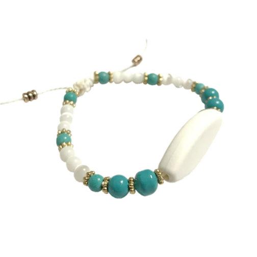 Bracelet perle bleu et blenc personnalisable