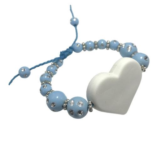 Bracelet perle bleu personnalisable