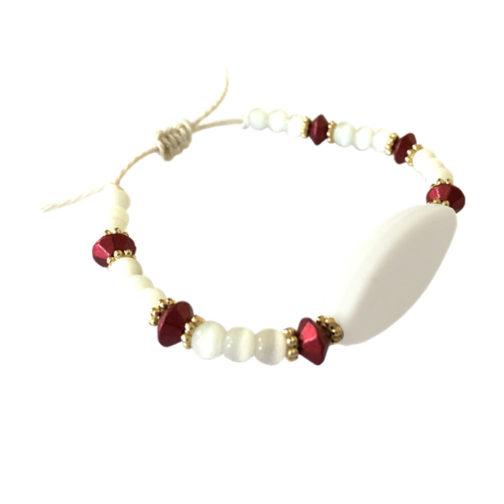 Bracelet prénom perle rose personnalisable