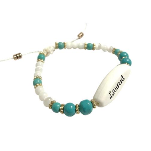 Bracelet prenom perle bleu et blenc personnalisable