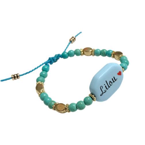 Bracelet prenom perle bleu personnalisable