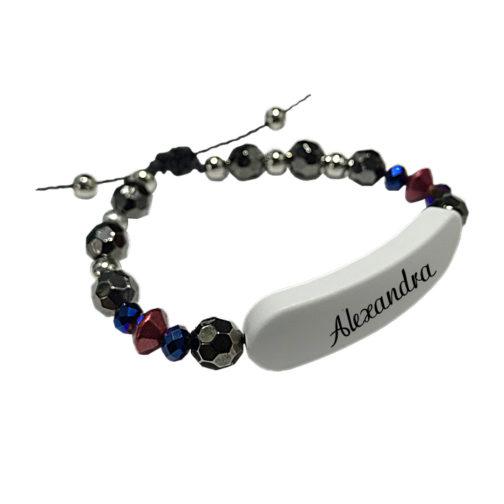 Bracelet prenom perle noir personnalisable