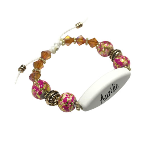 Bracelet prenom perle rose personnalisable