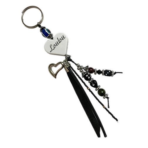 Porte-clés noir prénom à personnalisé