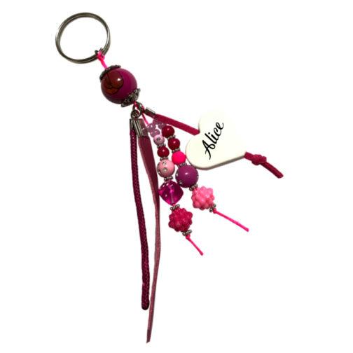 Porte-clés violet 2 prénom à personnalisé