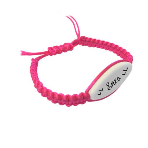 bracelet macramé rose prenom à personnalisé aysun