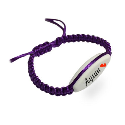 bracelet macramé violet prenom à personnalisé aysun