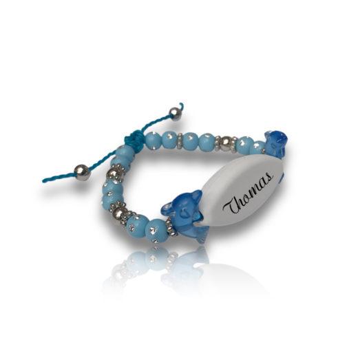 Bracelet dauphin bleu personnalisable ecrit