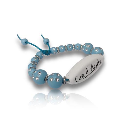 Bracelet perle bleu personnalisable ecrit