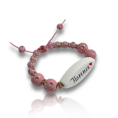 Bracelet perle roses personnalisable ecrit