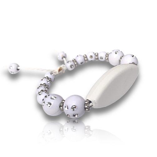 Bracelet perles blanc personnalisable