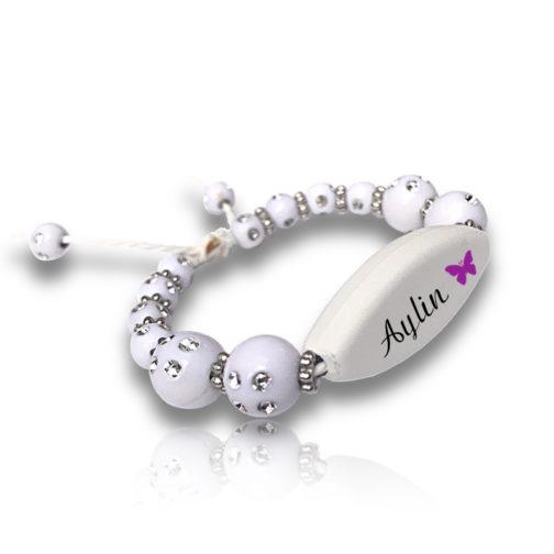 Bracelet perles blanc personnalisable ecrit